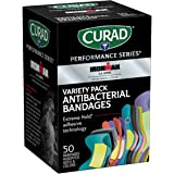 Curad - CURIM1850 Performance Series Ironman Antibacterial Bandages, Extreme Hold Adhesive Technology, Assorted Variety Pack