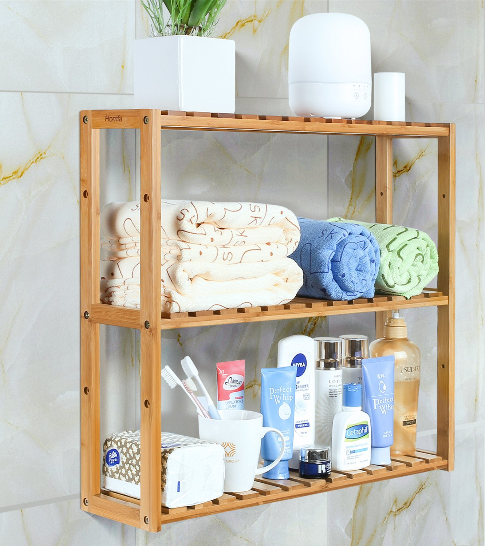 HOMFA Estanteria Baño Pared Estantería de bambú Baño Sala o Cuarto con 3 niveles para almacenaje y organización 60x15x54cm product image