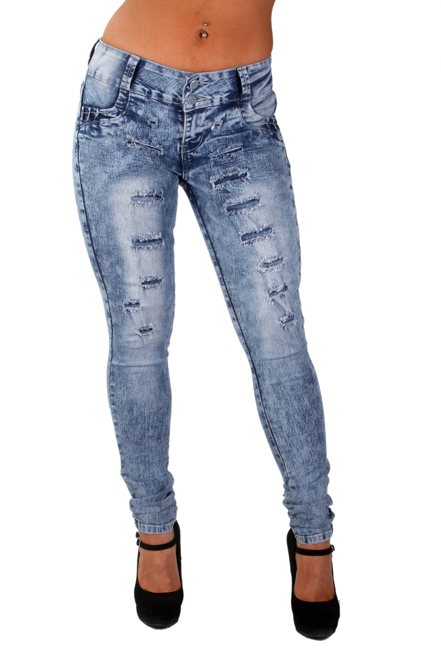 Style G675– Colombian Design, Butt Lift, Levanta Cola, Ripped Skinny Jeans in Washed M. Blue Size 9