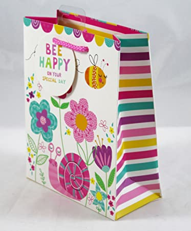 Bee Happy Birthday Gift Bag Medium Blumen Kids Luxus Geschenk Qualitat Party