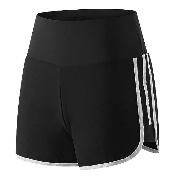 Wantdo Femme Short de Sport Course Elastique Extensible Noir et Blanc  Taille S 6e36f582919
