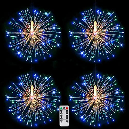 Fairy Firework String Lights, Battery Operated Hanging Copper Starburst Light, 8 Modes Dimmable Christmas Decorative Twinkle Fairy Lights for Party Yard Garden Bedroom 4 pack, 120led colorful