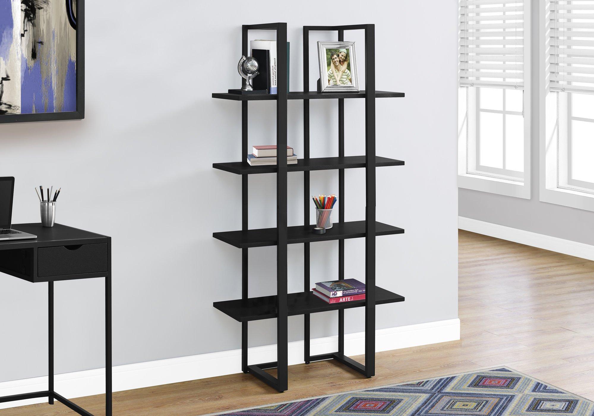 Monarch Specialties I 7236 Bookcase-60 H Metal, Black