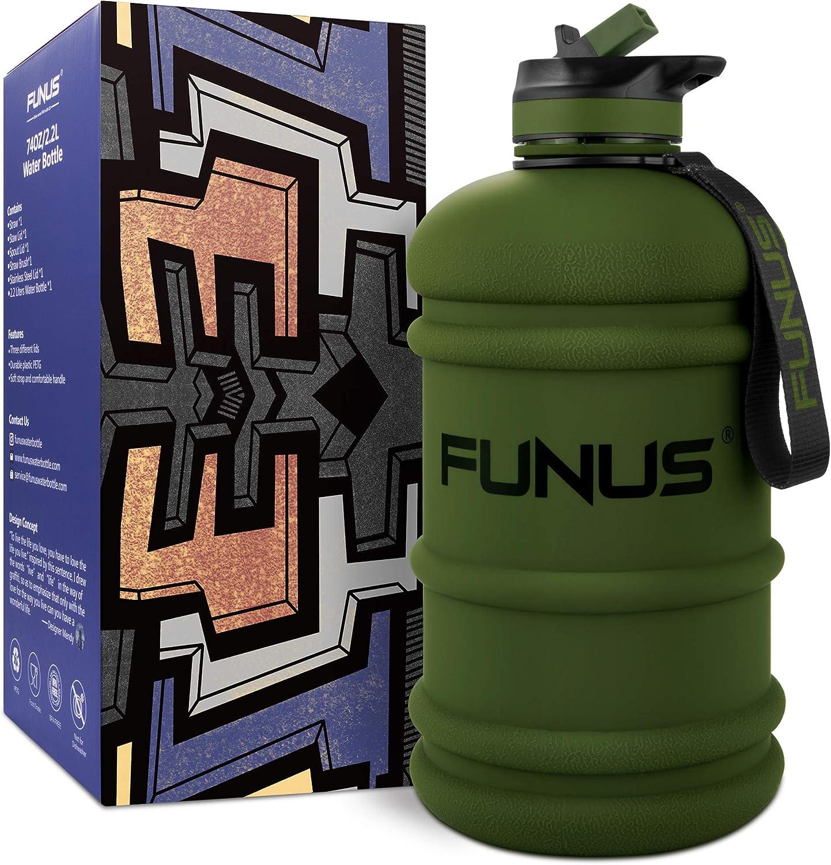 FUNUS Big Water Bottle BPA Free Half Gallon Water Bottle Hydro Jug Reusable Wate