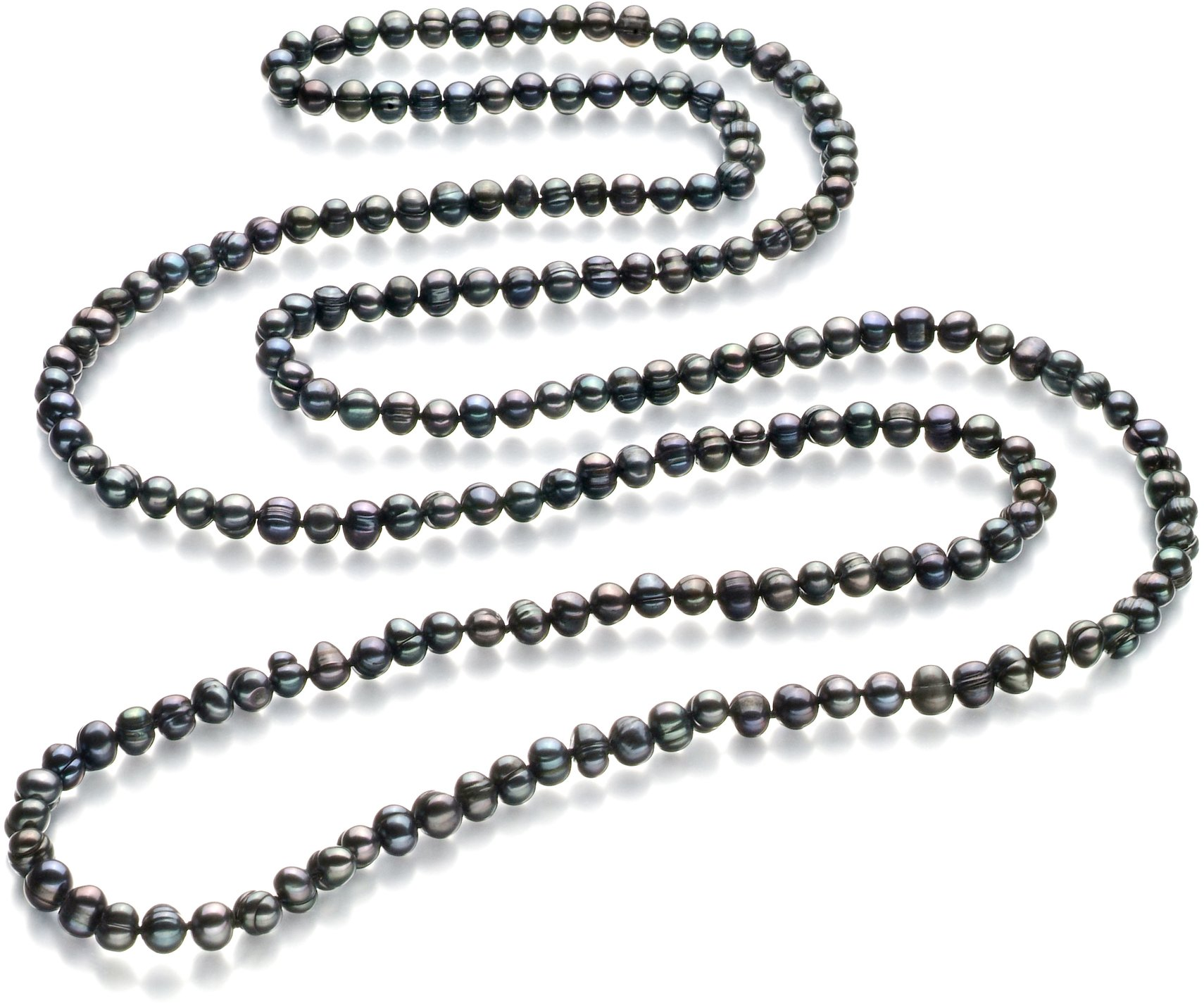 Betty Black 6-7mm A Quality Freshwater Cultured Pearl Necklace-51 in Rope length