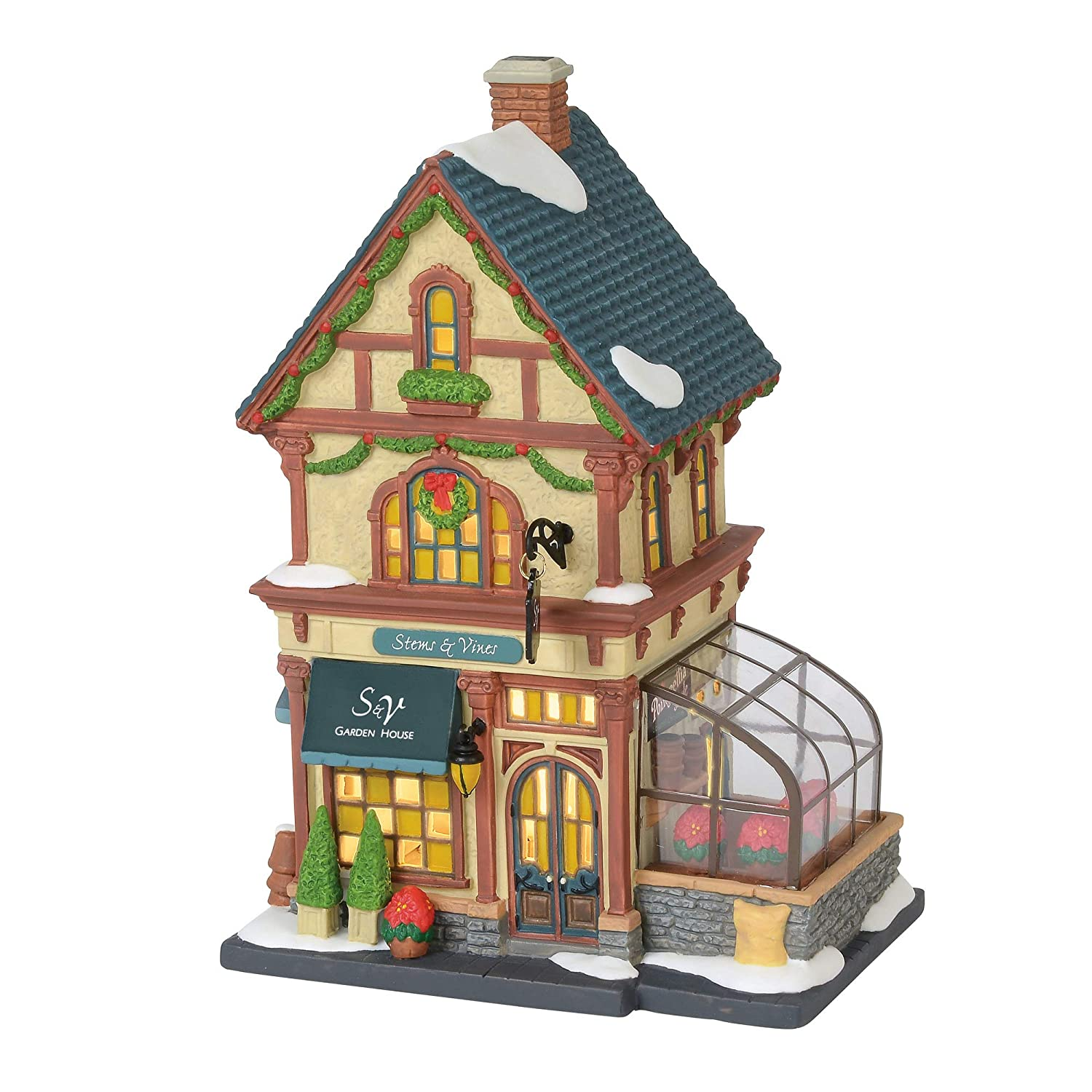 "Department 56 Christmas in The City Village Stems and Vines Garden House Lit Building, 8.75"", Multicolor"