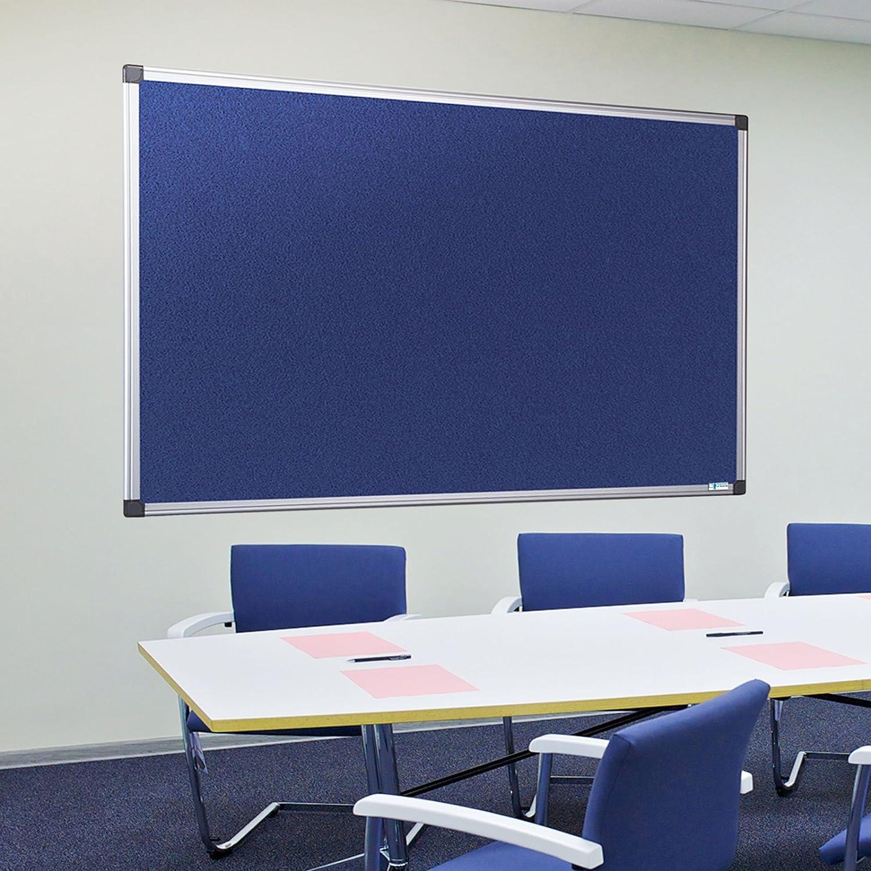 240 x 120 cm Filztafel Zum Gebrauch Mit Pinnnadeln Bi-Office Earth Pinnwand Mit Aluminiumrahmen Graue Filzoberfl/äche