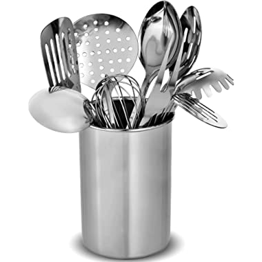 Stainless Steel Kitchen Utensil Set - 10 Modern Utensils, NonStick Heat Resistant Kitchen Gadgets, Turner, Spaghetti Server, Ladle, Serving Spoons, Whisk, Meat Fork, Potato Masher and Utensil Holder