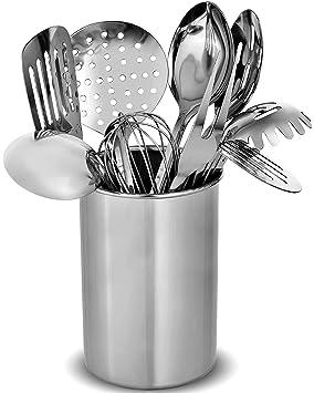Set de utensilios de cocina de acero inoxidable - 10 utensilios modernos, antiadherentes resistentes al calor, espátula, cucharón, tenazas, tenedor ...