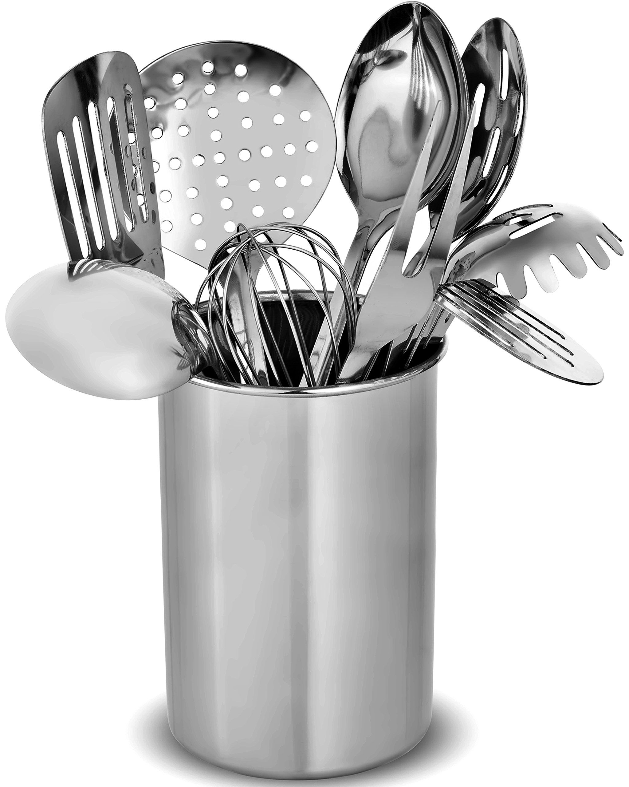 FineDine Premium Stylish 10-Piece Kitchen Utensil Set, Modern Stainless Steel Gadgets for Everyday Cooking - Turner, Spaghetti Server, Ladles, Spoons, Whisk, Meat Fork, and Tool Set Holder by FINEDINE