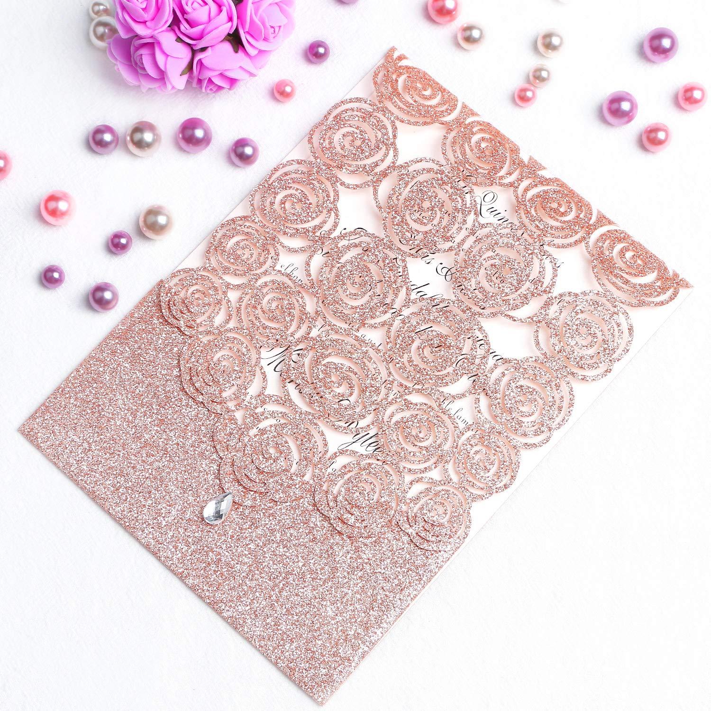 FEIYI 25PCS Laser Cut Invitations Cards Luxury Diamond Gloss Design with Pearl Paper Insert for Wedding, Bridal Shower, Engagement Birthday Graduation Invite (Rose Gold Glitter)