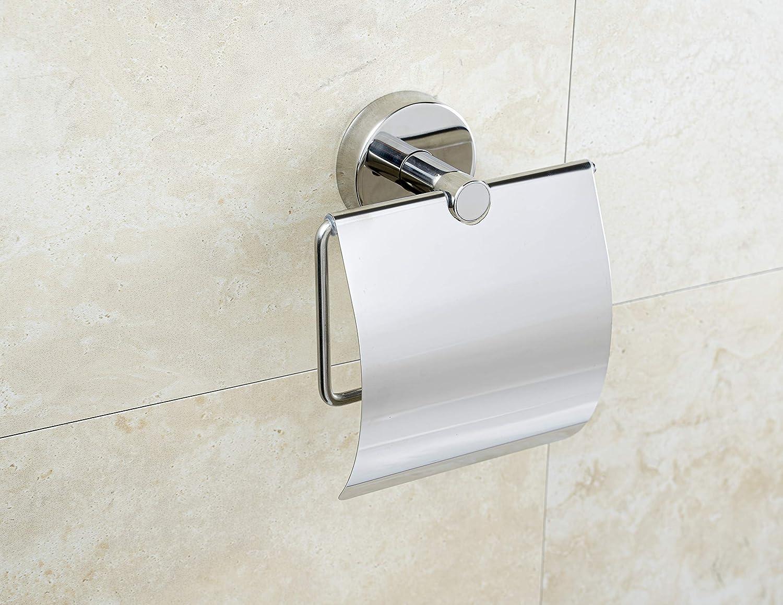 Nastro adesivo VHB 3M per montaggio a parete Portarotolo di carta igienica in acciaio inox AISI 304 18//10 con coperchio lucido made in EU Kapitan