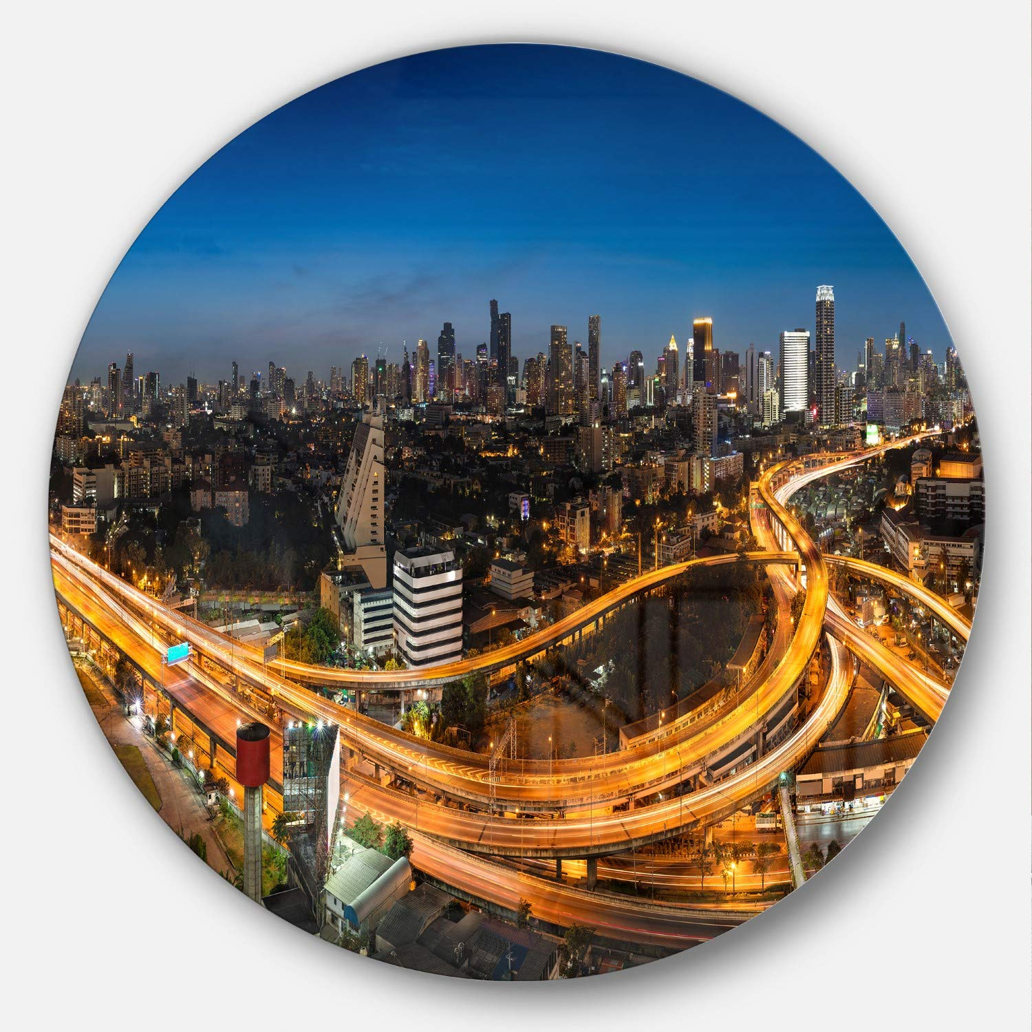Designart Highway and Main Traffic Bangkok-Cityscape Metal Wall Art Disc of 38 38 H x 38 W x 1 D Blue