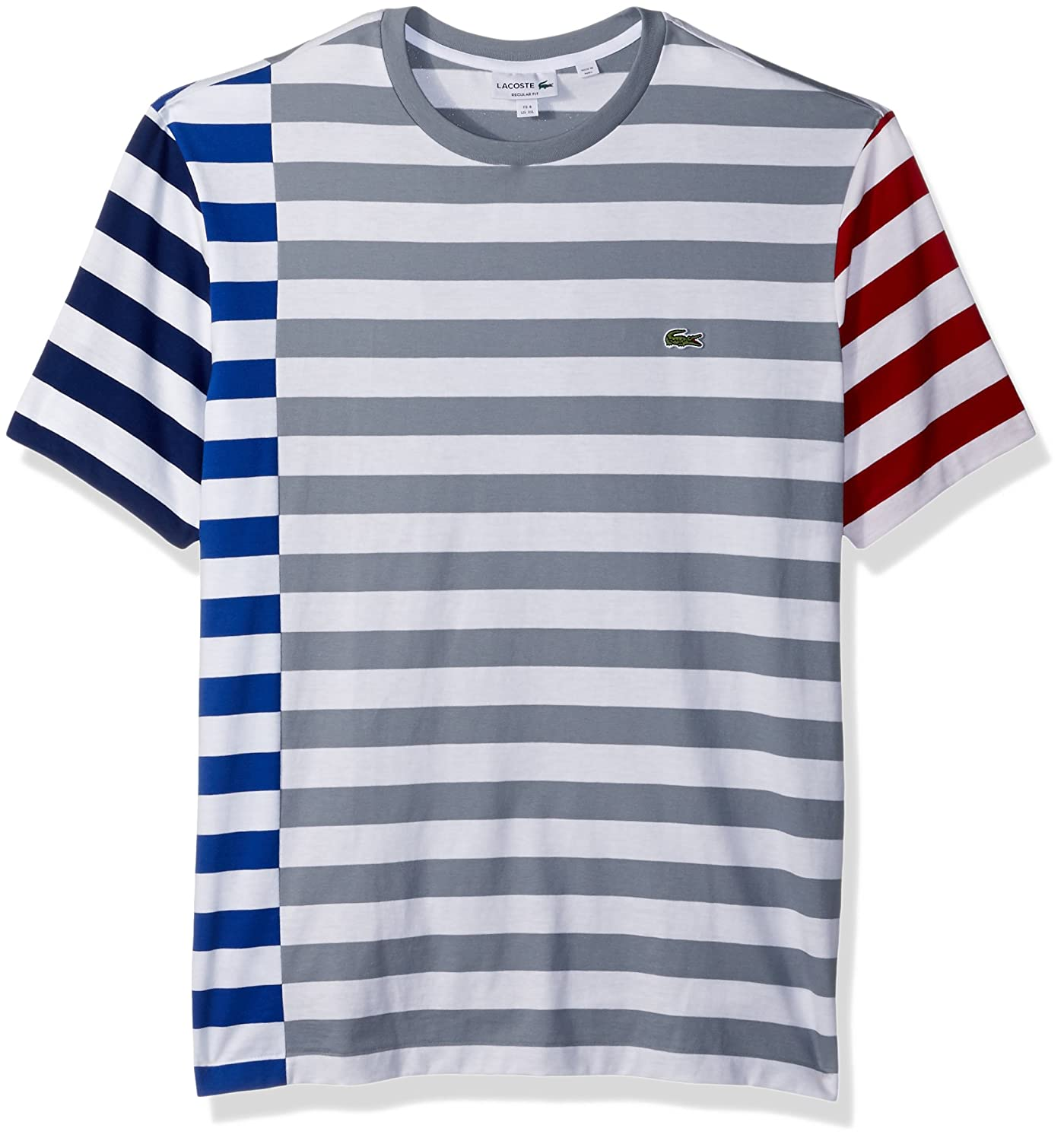 ab0f4a35 Lacoste Men's Short Sleeve Broken Striped Jersey Tee-Relaxed Fit |  Amazon.com