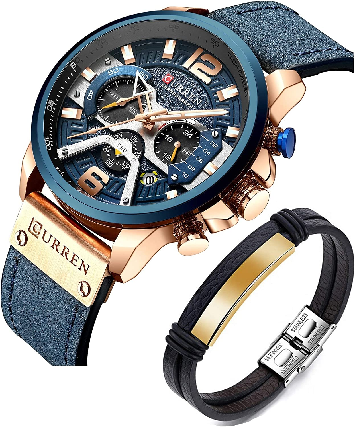 CURREN Men s Watches Quartz Leather Chronograph Watch and Fashion Bracelet Set Luxury Wristwatch Gifts