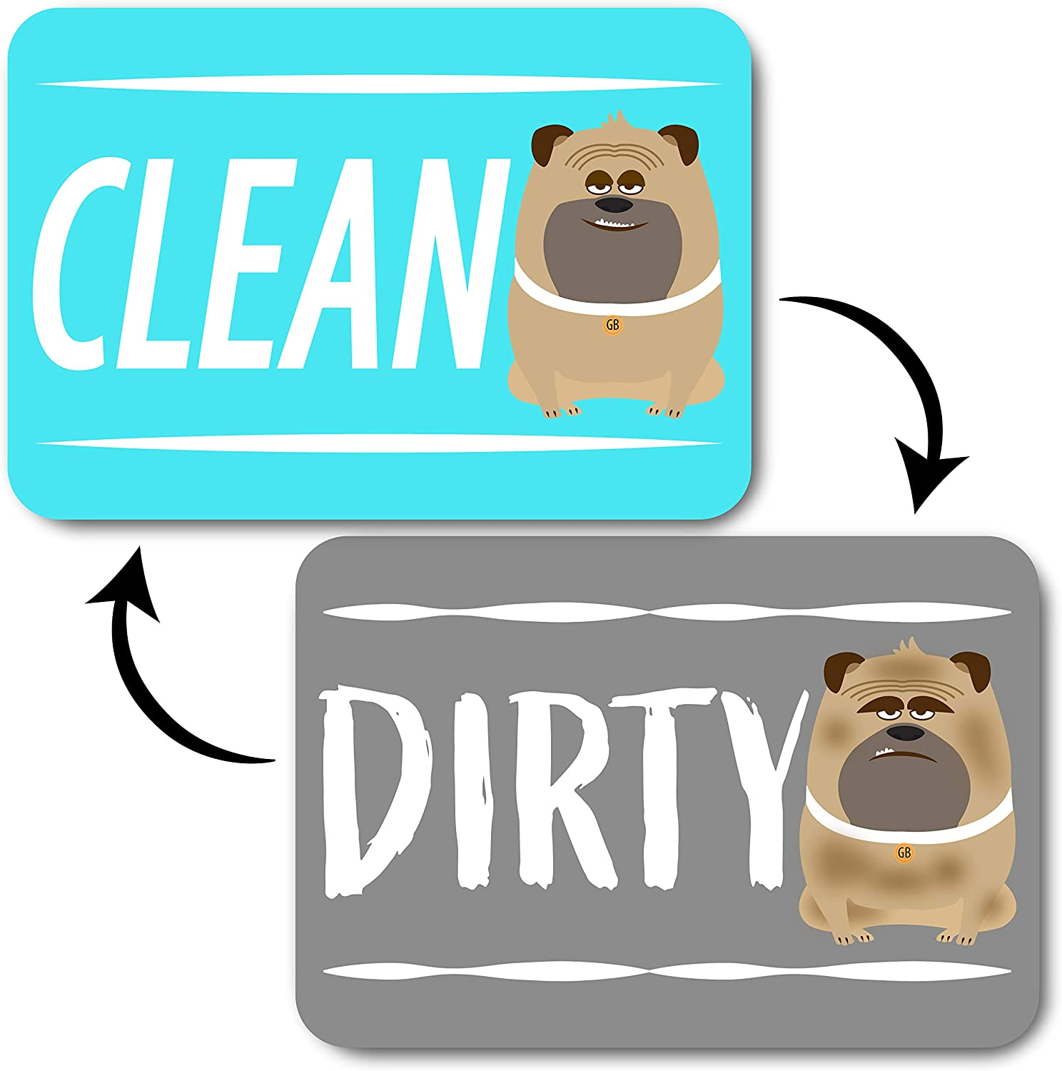 Dog Dishwasher Clean Dirty Magnet Dog Sign, Double Sided Clean or Reversible Dirty, Strong Kitchen Flip Indicator Dish Magnet, Universal use with Bonus Metal Magnetic Plate