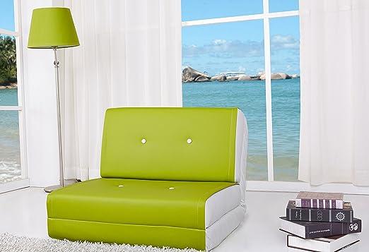 Artdeco Sillón cama, verde-blanco pequeño