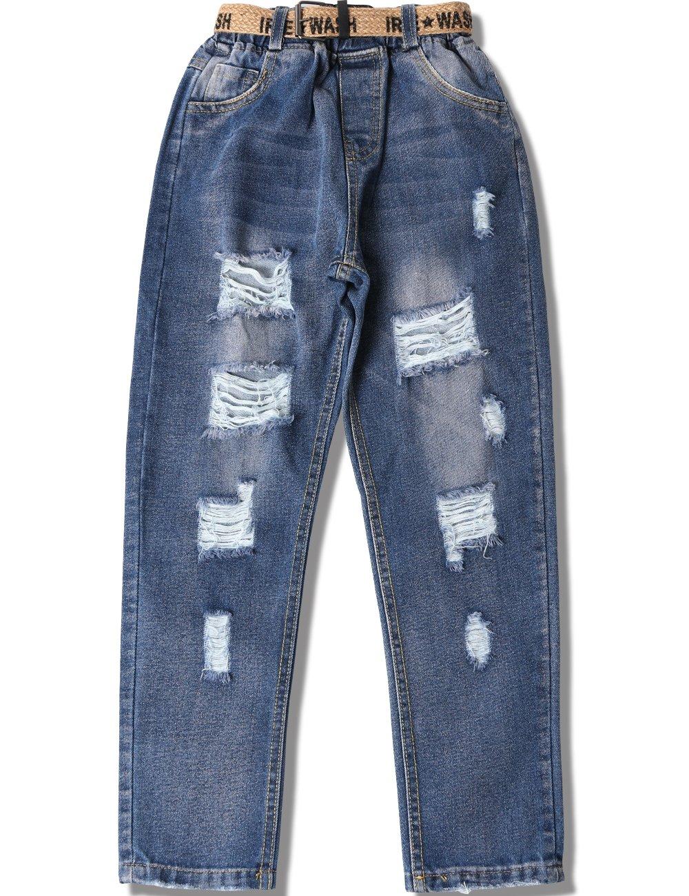 WIYOSHY Girls Skinny Ripped Elastic Pull On Denim Jeans Belt Age 5-14 Years (Blue, 7/8 (140))