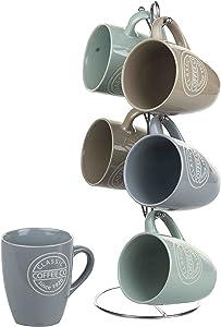 Home Basics MS44067 Set Coffee, 6 Piece Mug Stand