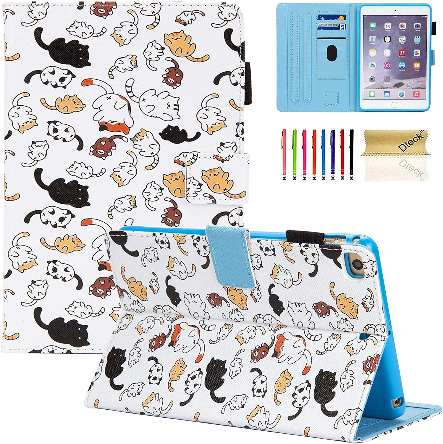 Dteck Case for iPad Mini 4 Case/iPad Mini 5 2019 (5th Generation 7.9 inch), Slim Premium Leather Smart Folio Stand Case with Pencil Holder, Auto Sleep/Wake, Multi-Angle Viewing Case, Cute Cats
