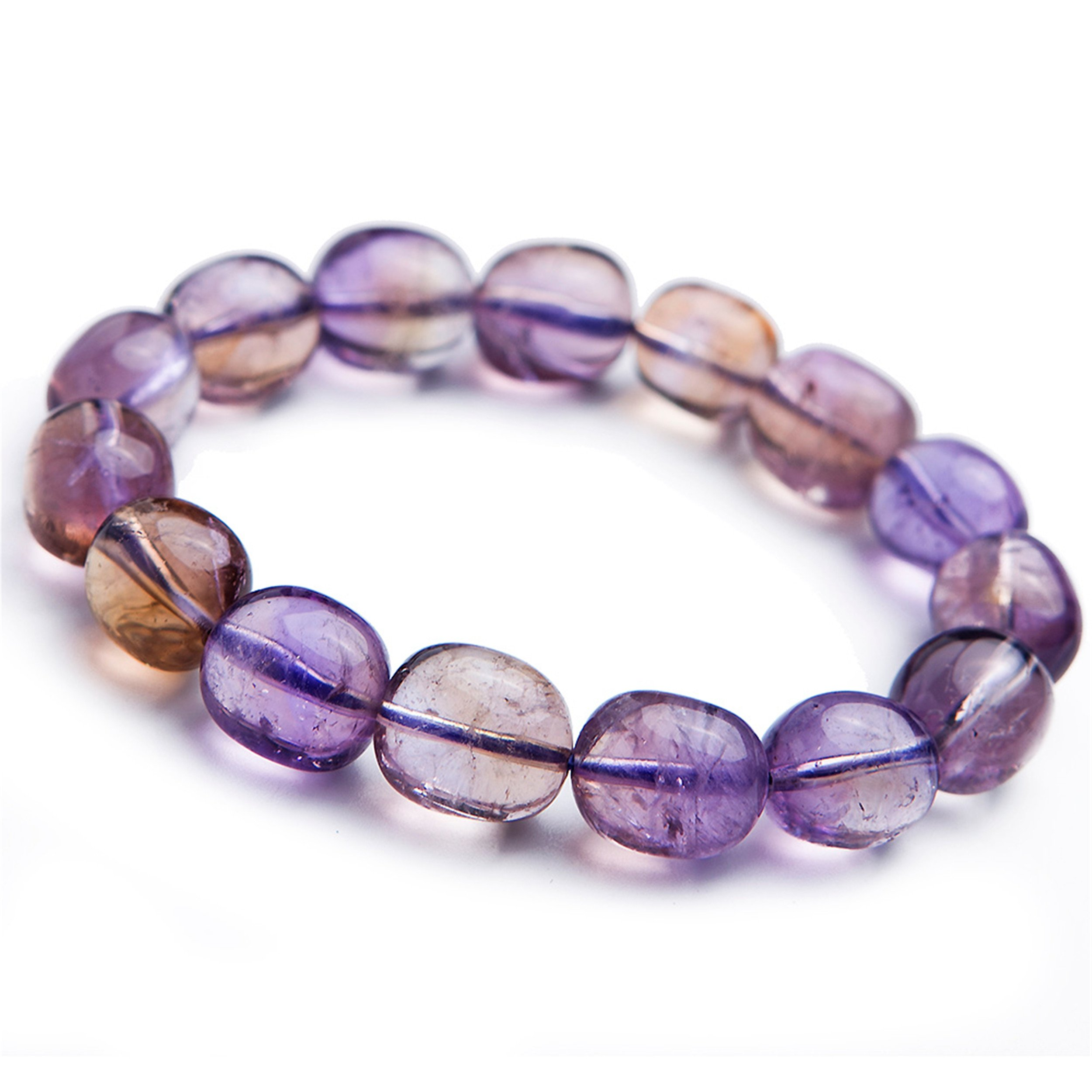 LiZiFang Yellow Purple Natural Ametrine Amethyst Citrine Quartz Crystal Bead Bracelet