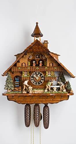 H nes Cuckoo Clock Black Forest house with moving wood chopper, mill wheel and illuminated windows