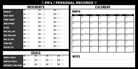 Fitness Personal Record Dry Erase Board - Strength Training - Build Muscle  Tone & Tighten - Home Gym Weight Lifting - Body Building Workout Crossfit