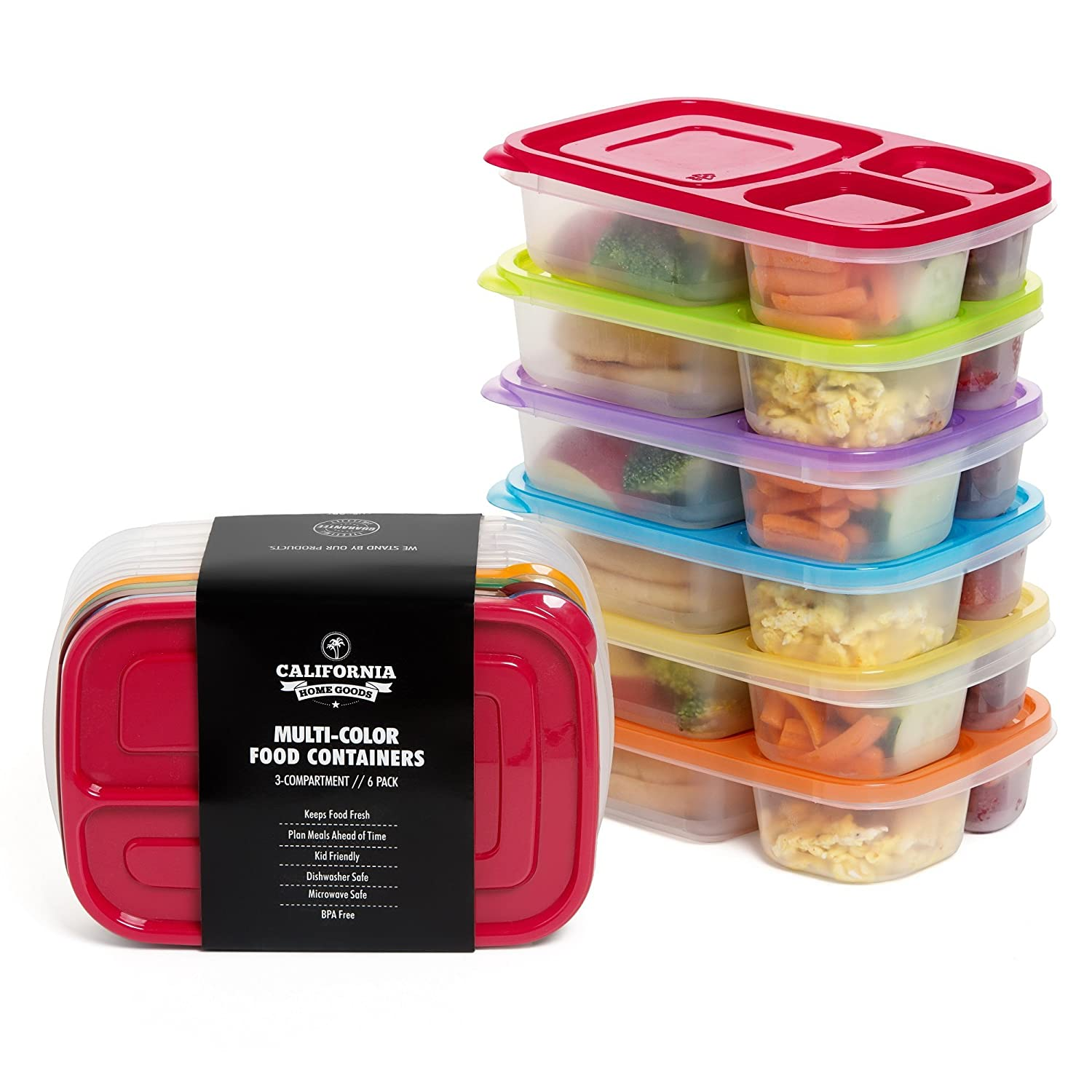 California Home Goods CHG-KD-3C-6P Food Storage Containers, Plastic, Multicolor