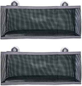 DII Quick Dry Hanging Mesh Bath Organizer with Suction Cups to Storage Toiletries, Toy, Bathroom Accessories, Perfect for Gym, School, Dorm, College, Travel, Camping, Set of 2- Large, Gray