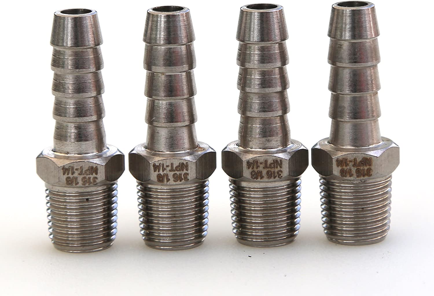 Pack of 4 Grizzling Fittings 1//4 Hose ID to 1//8 Male NPT Bar 316 Stainless Steel