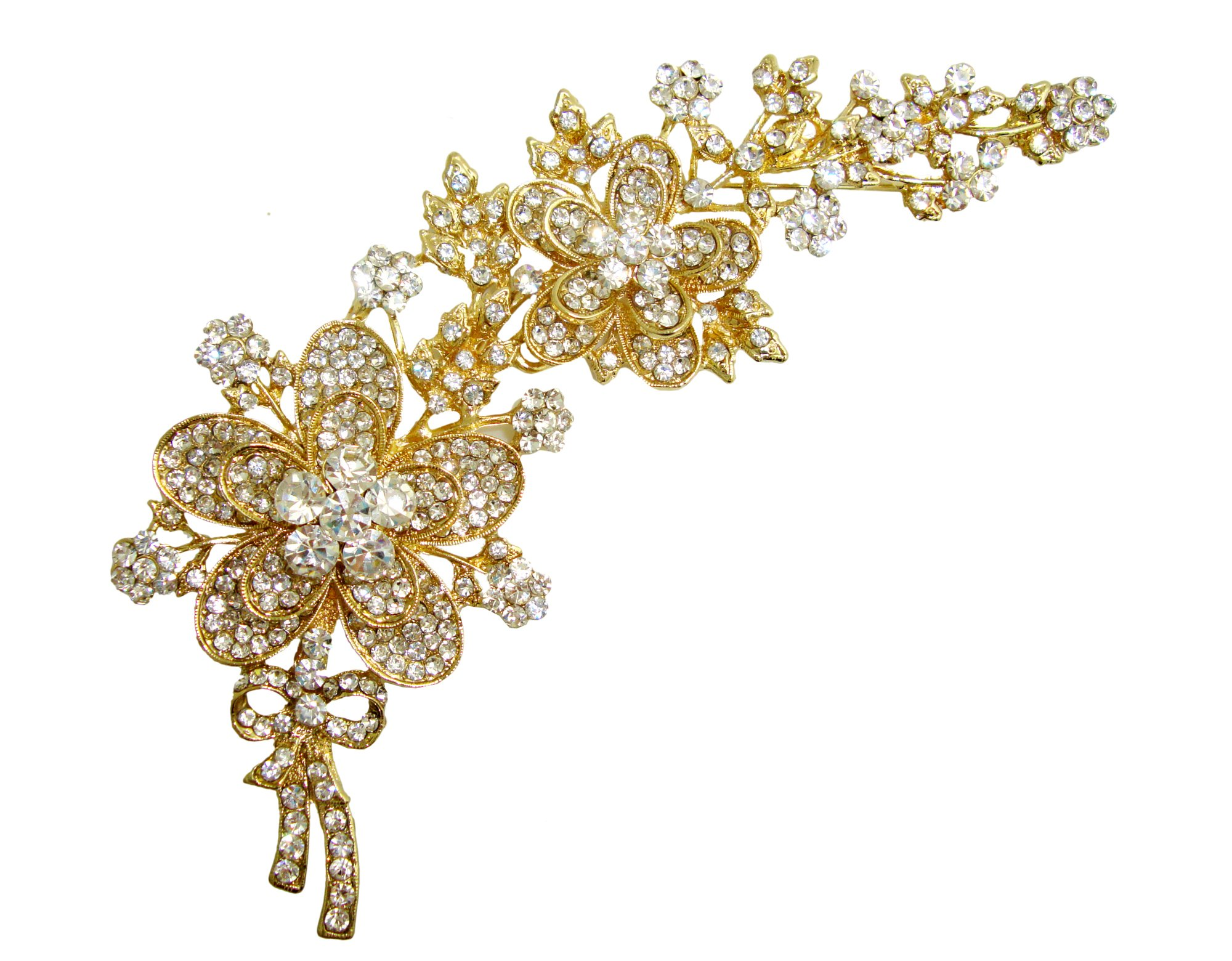 TTjewelry 5.7'' Clear White Gold-tone Petals Bridal Flower Austrian Crystal Brooch Pin Bouquet Jewelry