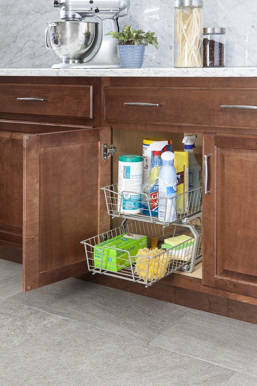 Closetmaid 3608 Two Tier 11 Inch Kitchen Cabinet Organizer White