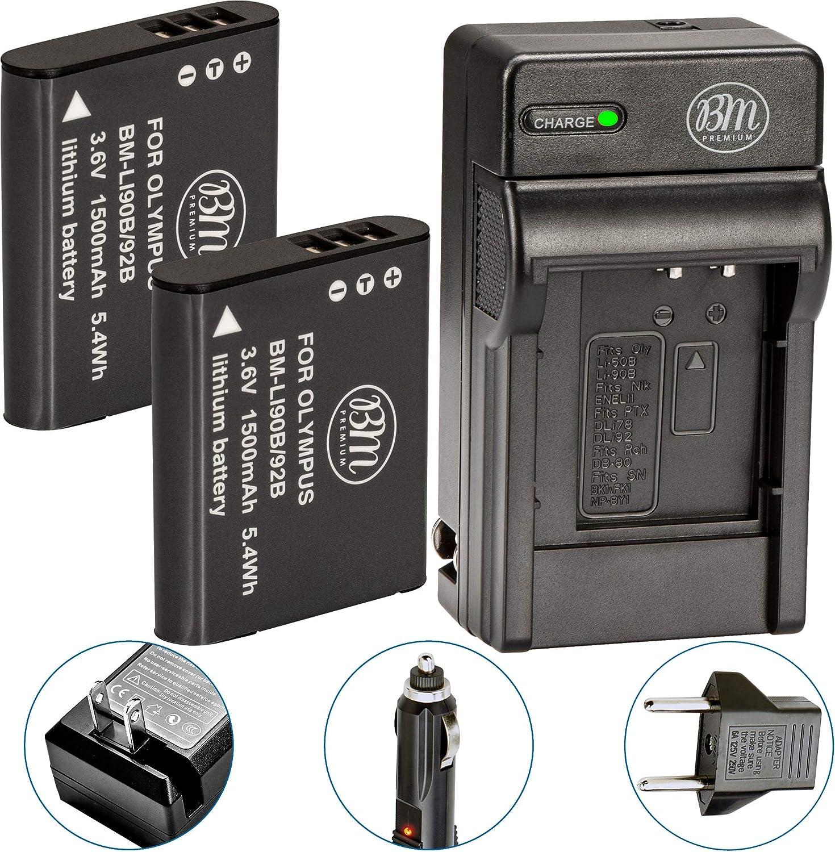 BTBAI Compatible Li-90B Battery Charger AC//DC Single for Olympus LI90B LI-92B LI92B SH-1 SH-50 SH-60 SH1 SH50 SH60 Tough TG-1 TG-2 TG-3 TG1 TG2 TG3 XZ-2 iHS SP-100 SP-100EE TG-4 TG4 Camera