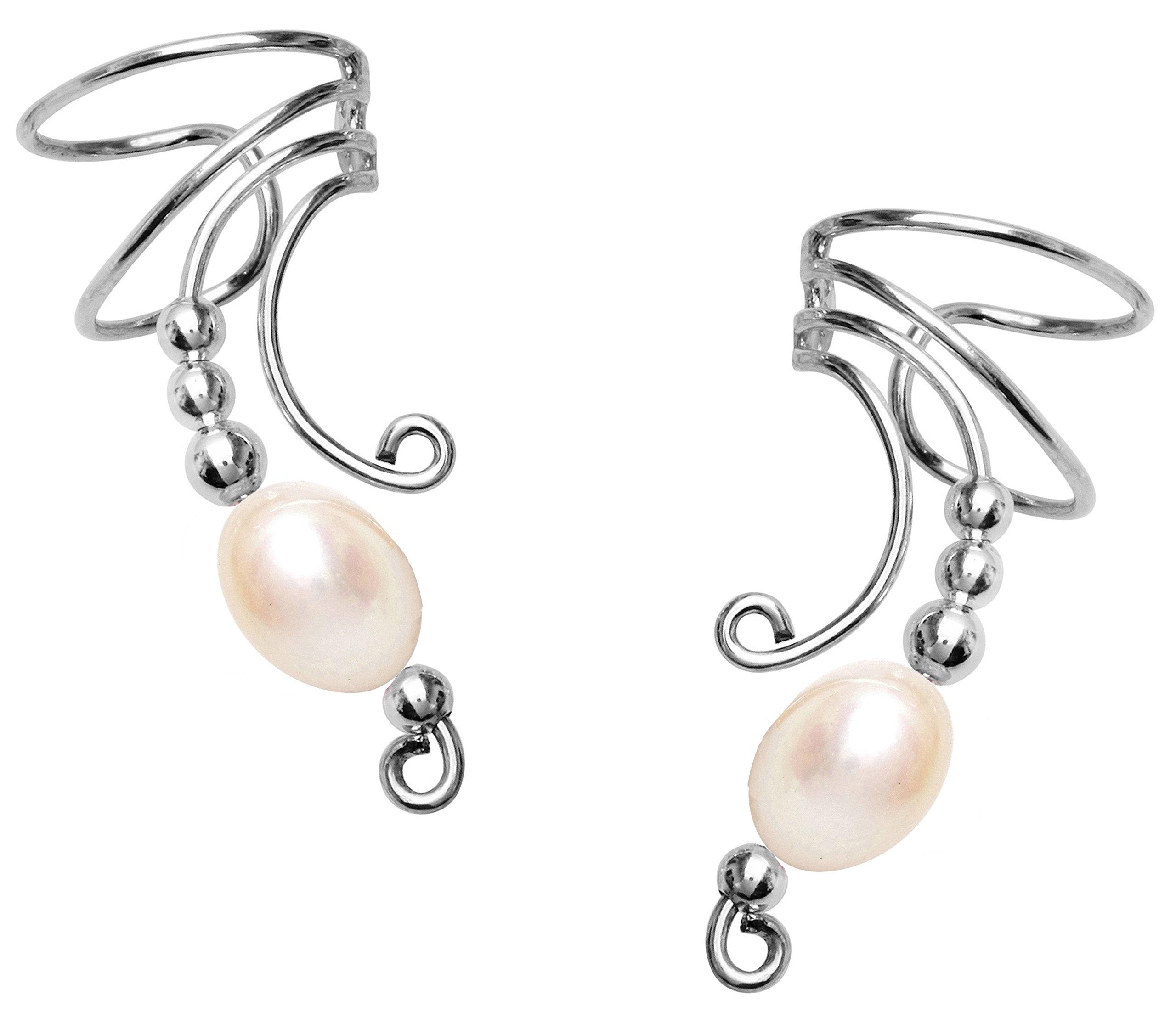Ear Cuff White Freshwater Pearl Beaded Non-pierced Sterling Silver Long Wave Ear Cuff Earring Wraps