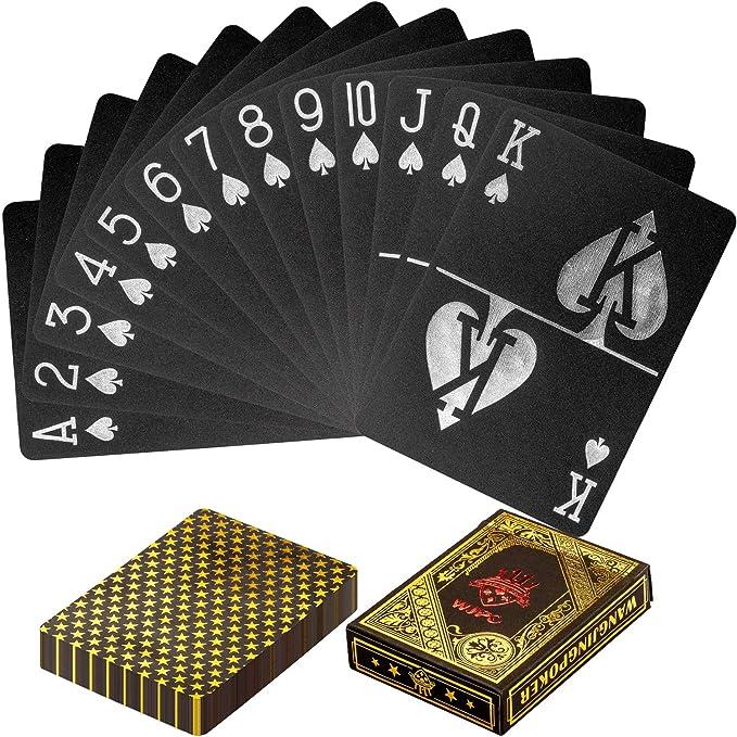 Maxstore Design Plastic Poker Cartas 100% Impermeable Juego de Mesa de Naipes de plástico Resistente a Las lágrimas, Cubierta Color Oro Negro