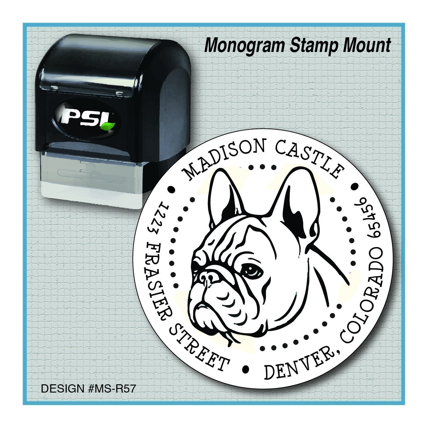 French Bulldog Return Address Monogram Stamp | Frenchie | Bouledogue Français | MS-R57