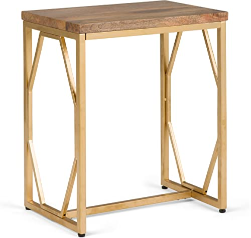 Selma Contemporary 13 inch Wide Metal and Wood Accent Side Table