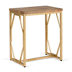 Simpli Home AXCMTBL-19 Selma Contemporary 13 inch Wide Metal and Wood Accent Side Table in Natural, Gold