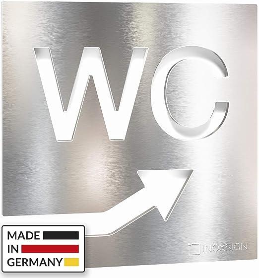 INOXSIGN W06 - Cartel para Puerta de WC con Flecha hacia la ...