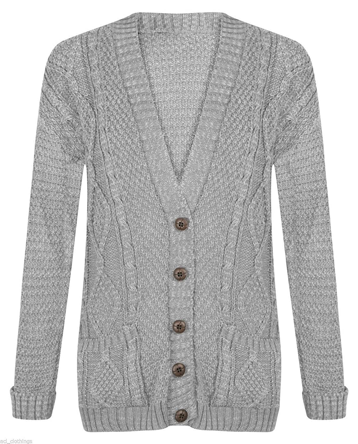 Womens Ladies Long Sleeve Button Top Chunky Aran Cable Knitted Grandad Cardigan