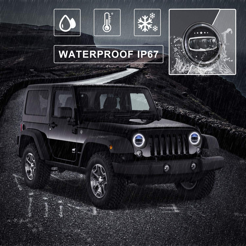 Faro LED 7 pollici YEEGO 50W 7 Faro per Moto LED Rotond Angel Eyes Fari LED Jeep per FLD//Touring//Softail Models Jeep Wrangler JK LJ CJ Hummer