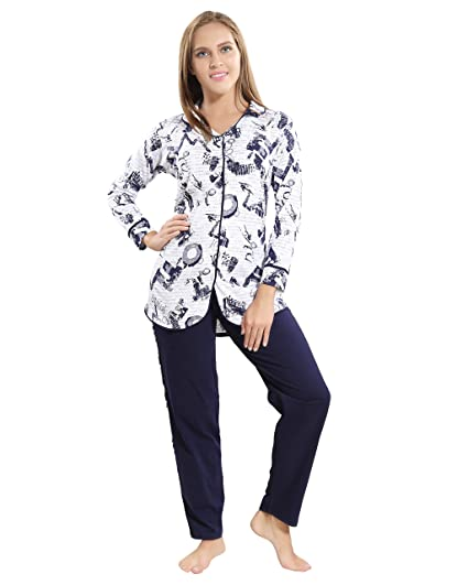 02368974f6 AV2 Women Cotton Front Open Long Sleeve Top   Pajama Set 2880  Amazon.in   Clothing   Accessories
