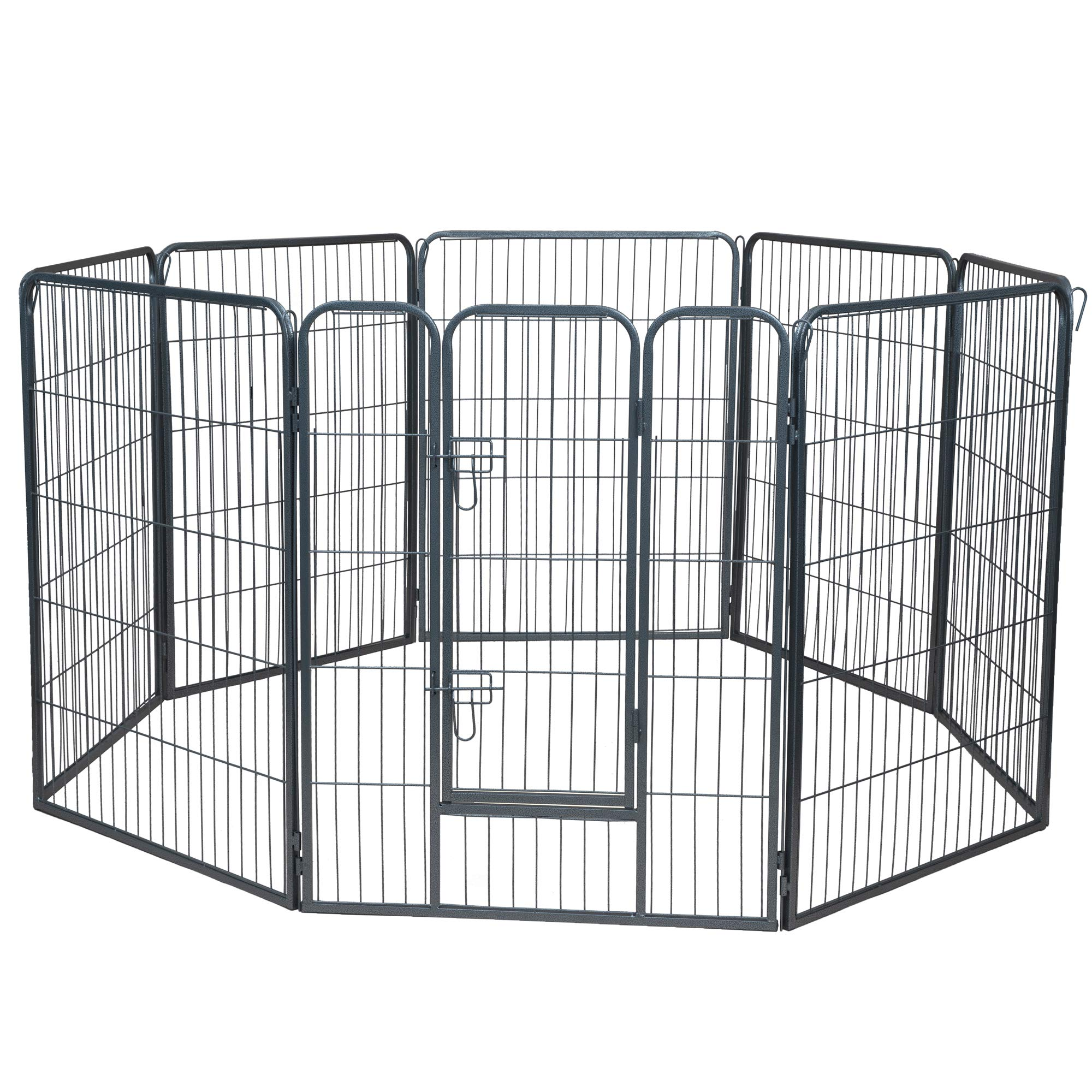 Wire Pen Dog Fence Playpen - Pet Dogs & Cats Outdoor Exercise Pens - Tube Gate w/Door - (8 Panel / 30 Square Feet Play Yard) Heavy Duty Portable Folding Metal Animal Cage Corral - 40'' Height Fences by Paws & Pals