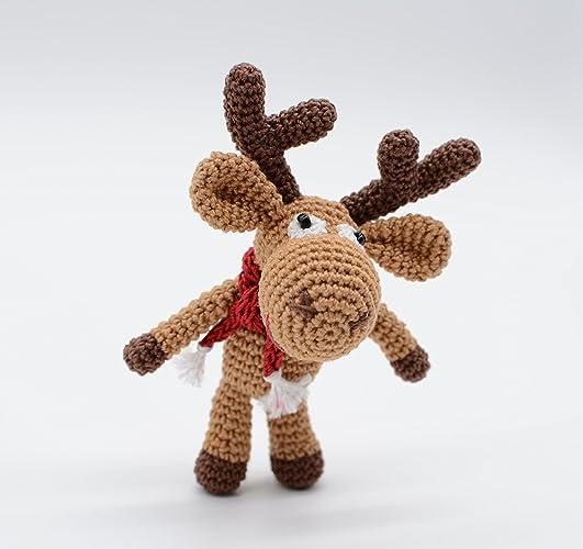 Reno de peluche, regalo de Navidad, crochet Rudolph, pequeño ayudante de Santa Claus