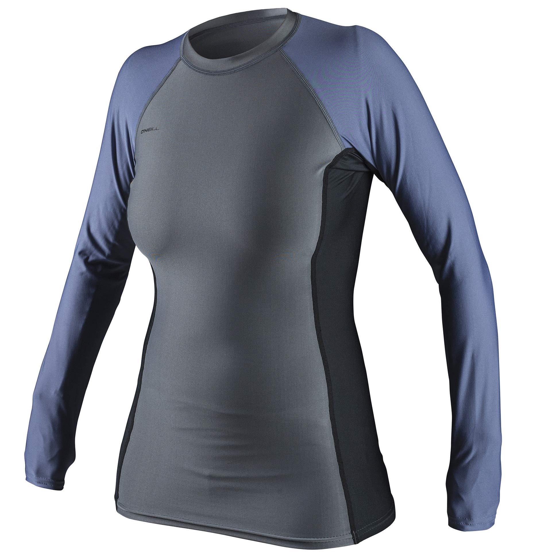 O'Neill Oneill Womens Basic Long Sleeve Rash Guard - Smoke BLK Mist - Smoke Black Mist, X-Small