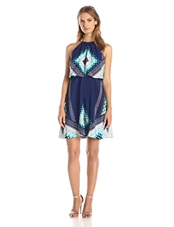Jessica Simpson Women's Halter Printed Fit and Flare Dress, Navy/Multi, 4