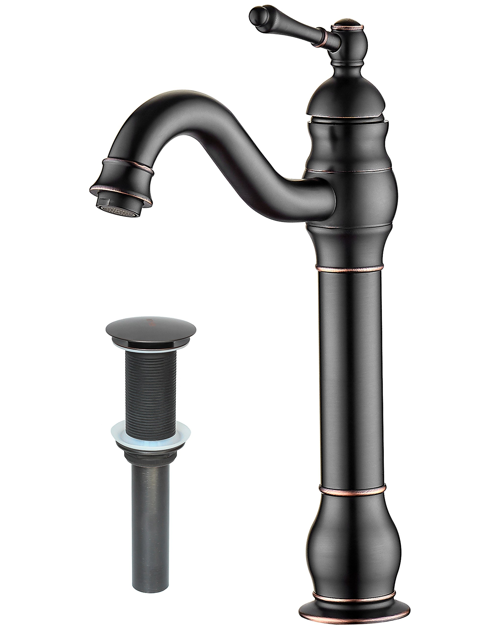 MYHB 360° Swivel Oil Rubbed Bronze Bathroom Vessel Sink Faucet with Brass POP UP Drain Single Handle Lever Bowl Tap Mixer by MYHB