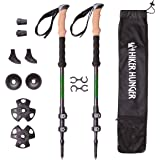 Hiker Hunger 100% Carbon Fiber Trekking Pole 2.0 Ultralight Weight, Collapsible, Metal Screw Flip Lock and Carry Bag Zip Pocket for Accessories Perfect for Walking & Hiking - USA Based Outdoor Brand