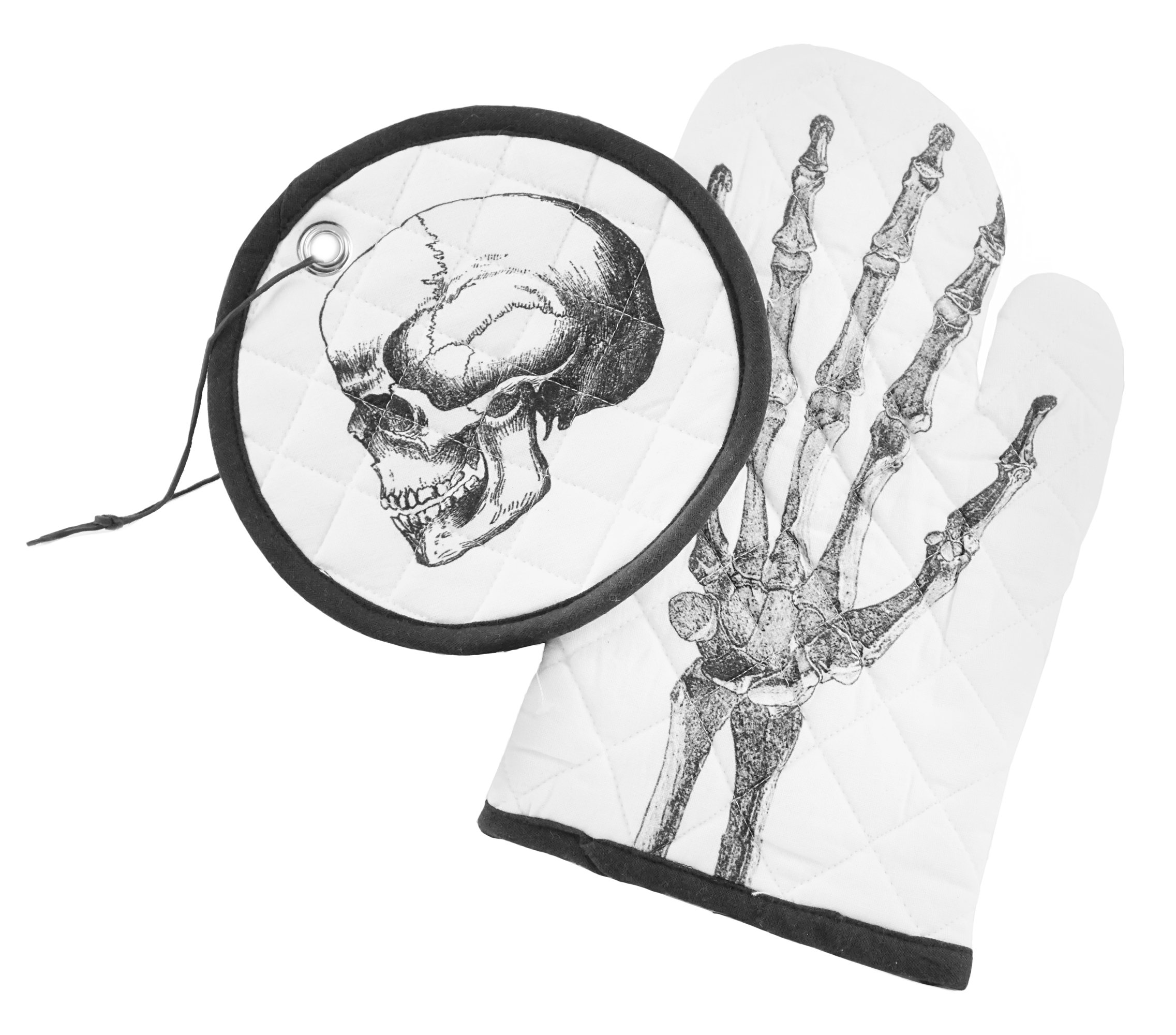 Skull Anatomy Halloween Quilted Pot Holder & Oven Mitt Set