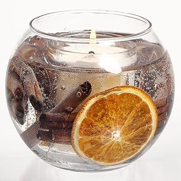 Vela aromática para navidad, en forma de pecera, aroma a canela y naranja: Amazon.es: Hogar
